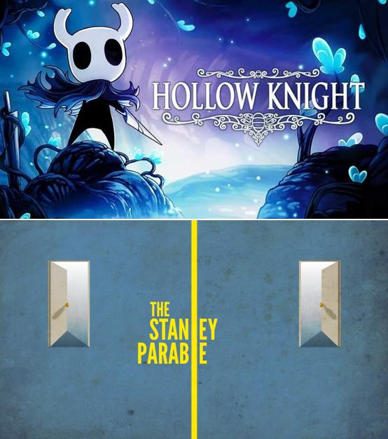 Hollow Knight es un videojuego desarrollado y publicado por Team Cherry. The Stanley Parable es un videojuego desarrollado por Davey Wreden.