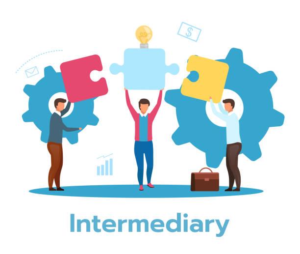 Intermediary flat vector illustration. Social enterprise. Wholesaler, distributor, reseller. E-commerce. Business model. Isolated cartoon character on white background